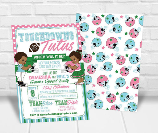 Touchdowns or Tutus Gender Reveal Party Invitation - The Party Stork
