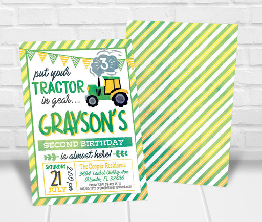 Tractor Birthday Party Invitation - The Party Stork