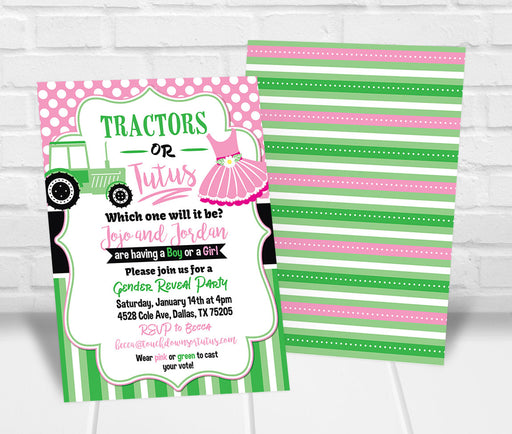 Tractors or Tutus Gender Reveal Party Invitation - The Party Stork