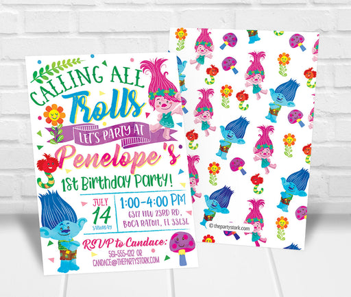 Trolls Birthday Party Invitation - The Party Stork