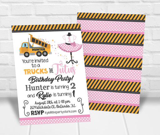 Trucks and Tutus Birthday Party Invitation - The Party Stork