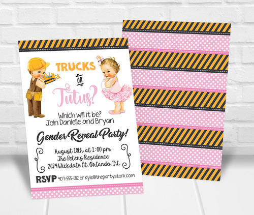 Trucks or Tutus Gender Reveal Party Invitation