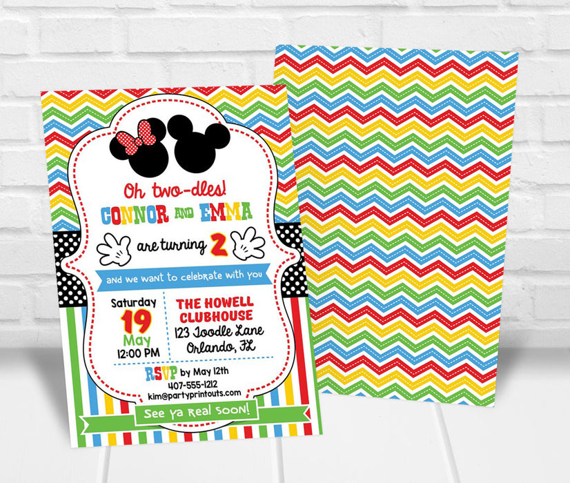 Twin Mickey and Minnie Inspired Birthday Invitation
