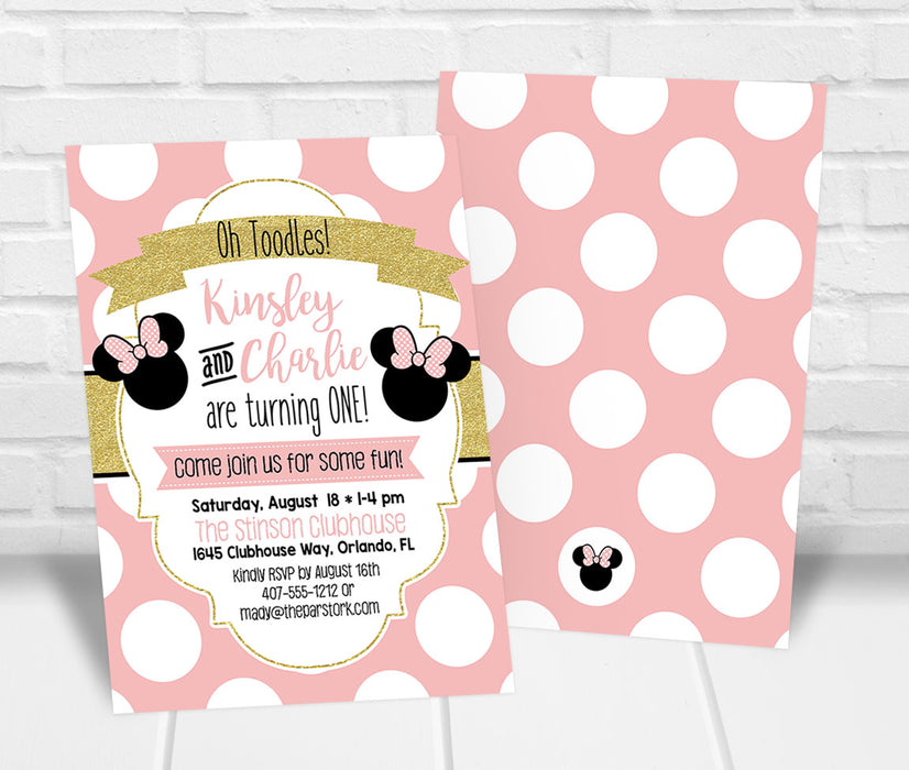 Twin Minnie Mouse Inspired Birthday Party Invition - The Party Stork