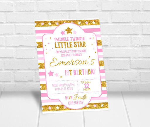Twinkle Twinkle Little Star 1st Birthday Invitation - The Party Stork