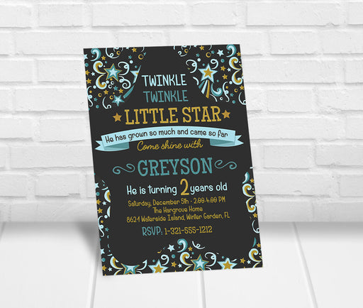 Twinkle Twinkle Little Star Birthday Party Invitation Boy - The Party Stork