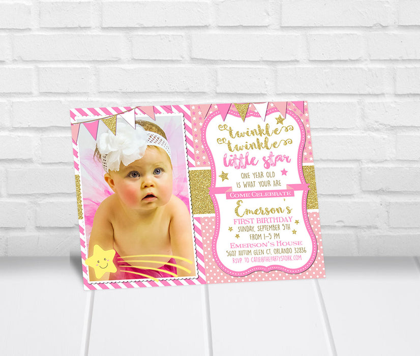 Twinkle Twinkle Little Star First Birthday Invitation - The Party Stork
