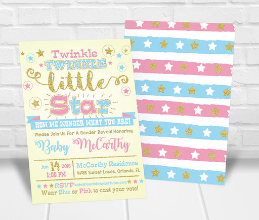 Twinkle Twinkle Little Star Gender Reveal Party Invitation - The Party Stork