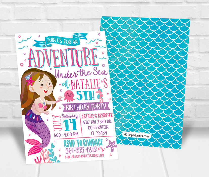 Under the Sea Mermaid Birthday Party Invitation - The Party Stork