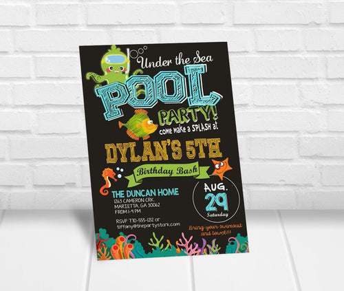 Under the Sea Pool Party Invitation