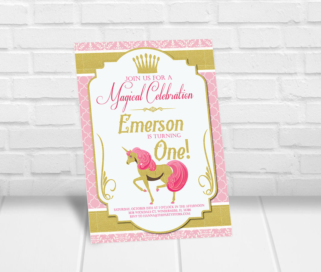 Unicorn Birthday Invitation Pink and Gold