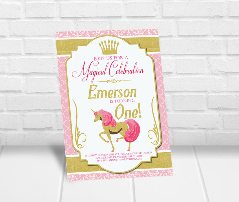Unicorn Birthday Invitation Pink and Gold - The Party Stork