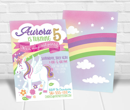 Unicorn Party Invitation - The Party Stork