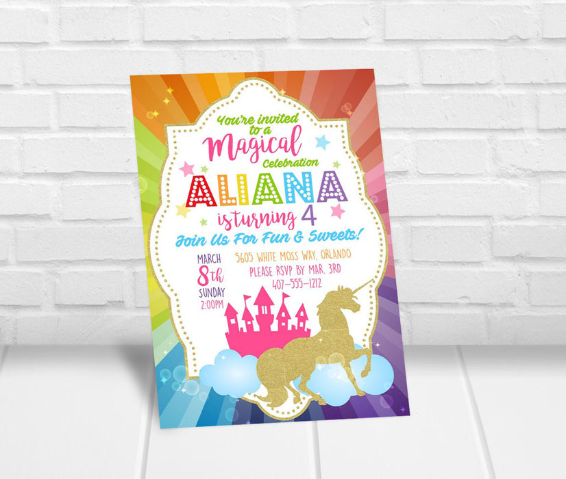 Unicorn Birthday Party Invitation - The Party Stork
