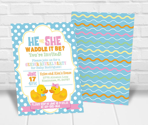 Waddle it Be Gender Reveal Party Invitation - The Party Stork