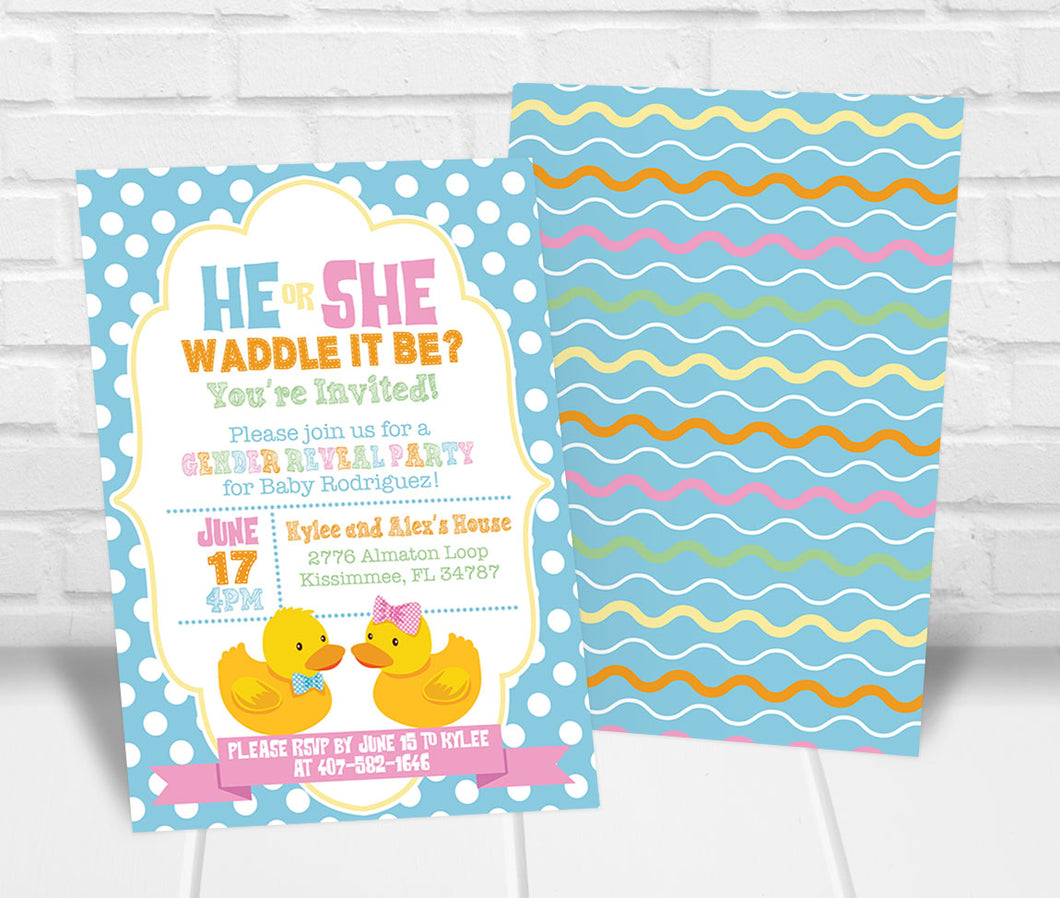 Waddle it Be Gender Reveal Party Invitation