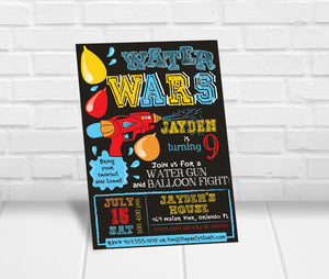 Water Wars Birthday Party Invitation