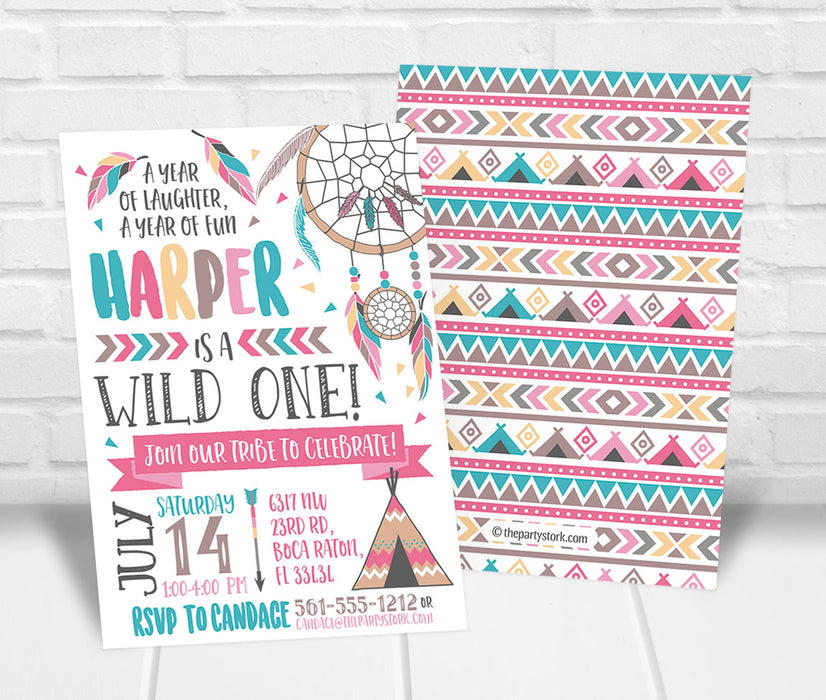 Wild One Tribal Birthday Party Invitation - The Party Stork