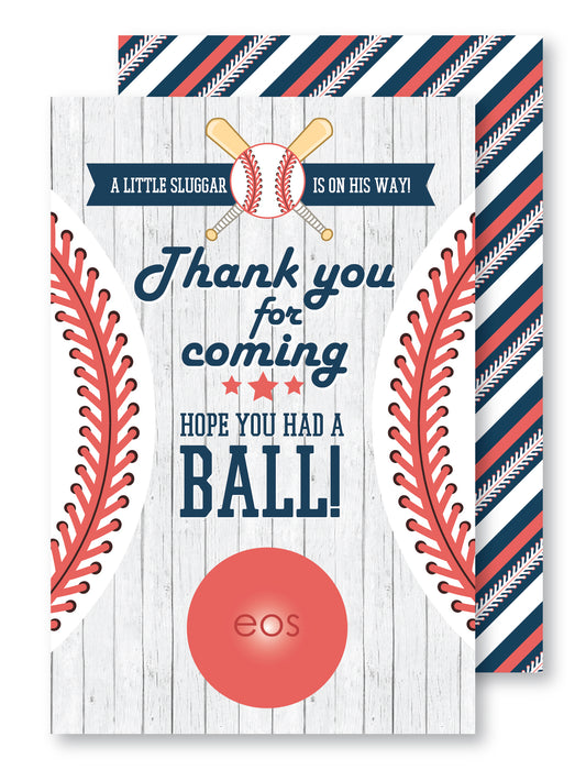 Baseball Baby Shower Lip Balm Favor Card - The Party Stork