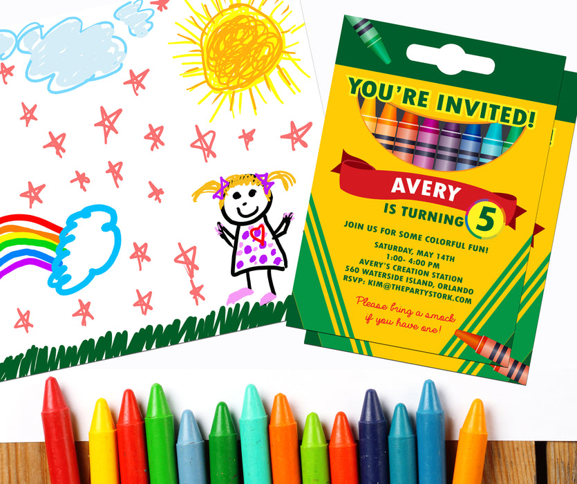 Crayon Birthday Party Invitation - The Party Stork