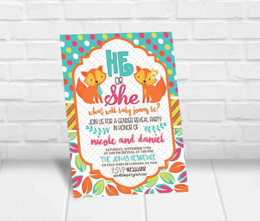 Fox Gender Reveal Party Invitation