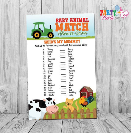 Barnyard Baby Animal Match, Baby Shower Game, Farm Animal Baby Shower Game Printable INSTANT DOWNLOAD - The Party Stork