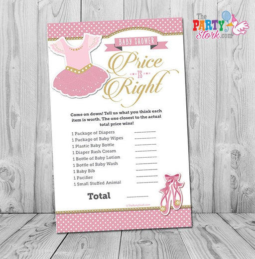 Ballerina Baby Shower Game, Tutu Cute Price is Right Baby Shower Game: Printable Ballerina Girl Baby Shower Games, Pink Gold Ballet, INSTANT - The Party Stork