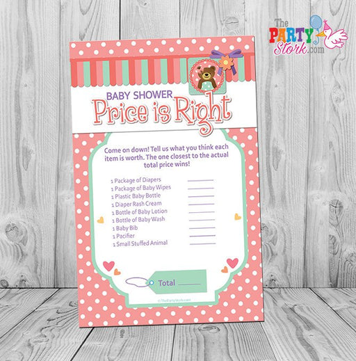 Baby Bear Price is Right Baby Shower Game: Printable Teddy Bear Theme Baby Shower Games, Pink Green Purple, DIY Digital INSTANT DOWNLOAD - The Party Stork
