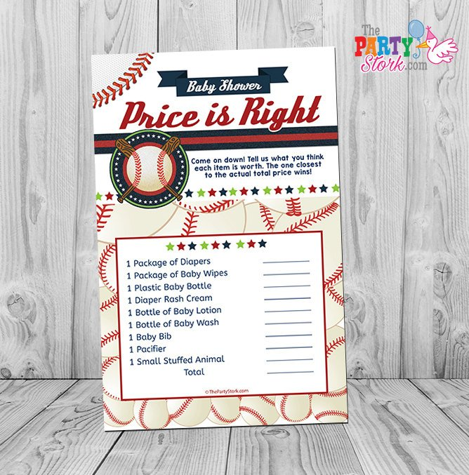 Baseball Baby Shower Game, Baby Shower Games Printable, Baseball Price is Right Game INSTANT DOWNLOAD - The Party Stork