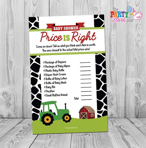 Barnyard Baby Shower Game, Price is Right Baby Shower Game, Farm Animal Baby Shower Printable Game - The Party Stork