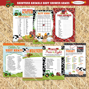 Barnyard Baby Shower Game Package