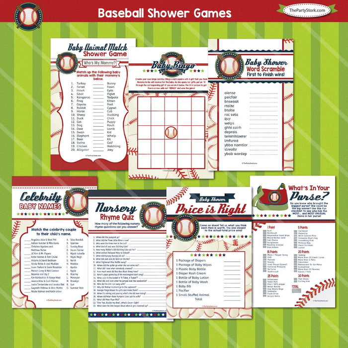 Baseball Baby Shower Game Package