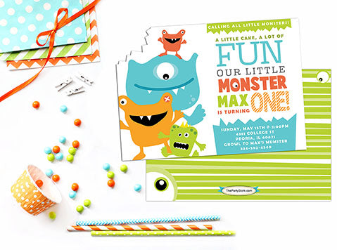 Monster First Birthday Invitation - The Party Stork
