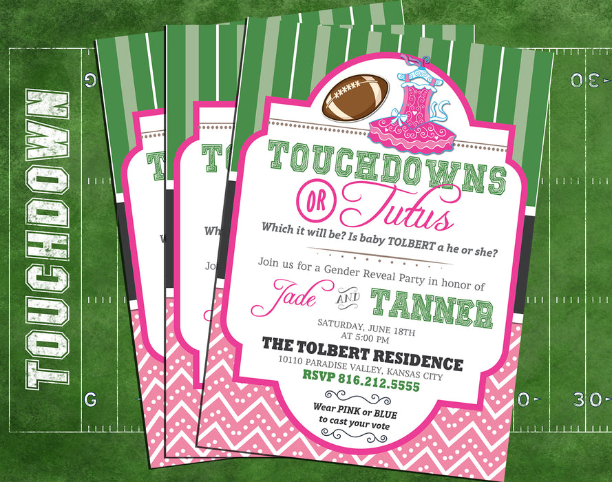 Touchdowns or Tutus Gender Reveal Invitation - The Party Stork