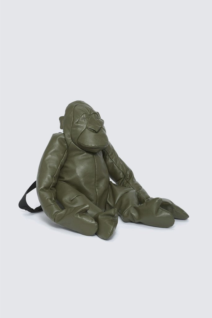 Large Leather Orangutan Rucksack Olive