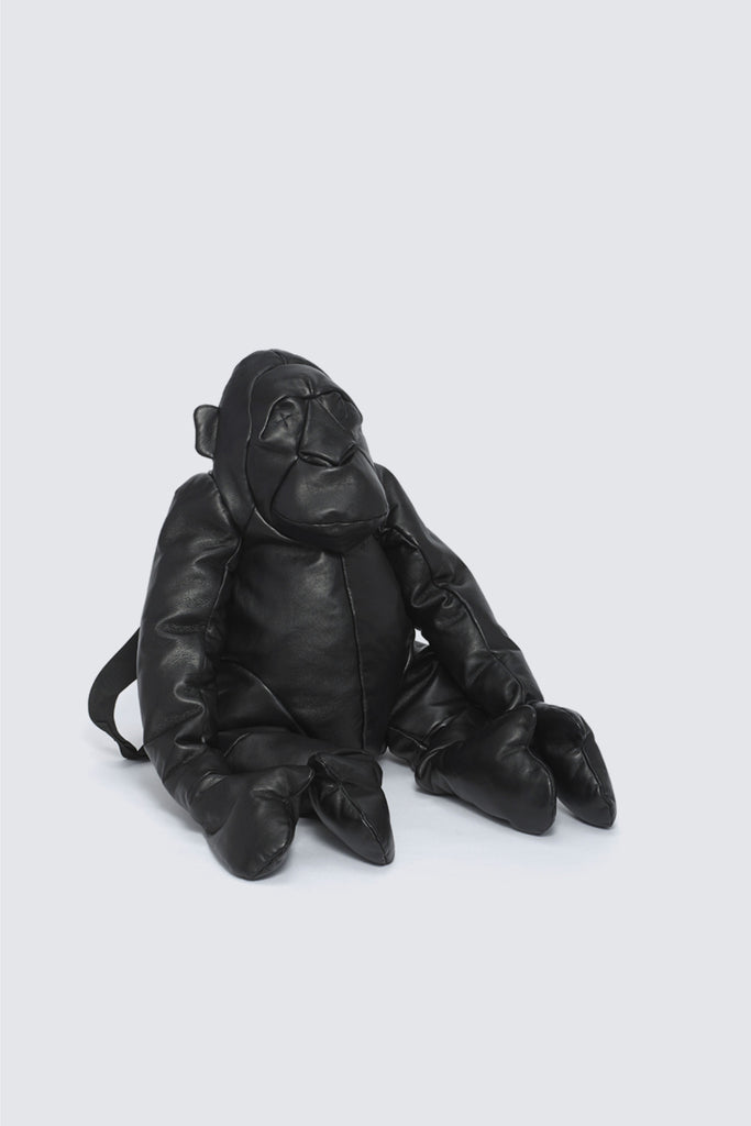 Large Leather Orangutan Rucksack Black