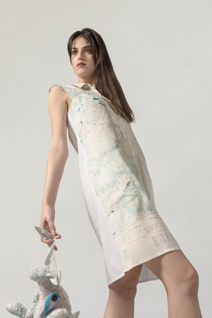 REMADE Silk Map Shirt Dress