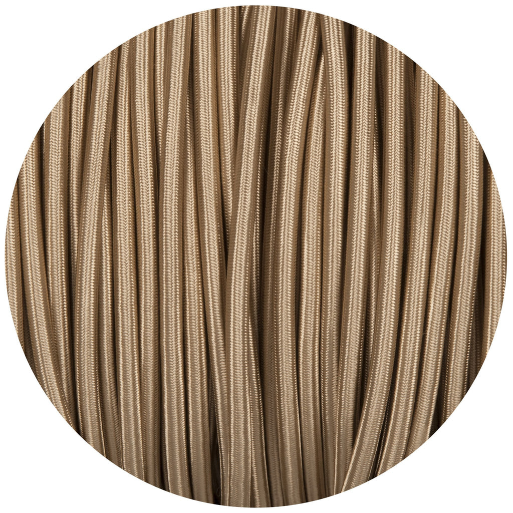 Beige Round Fabric Braided Cable