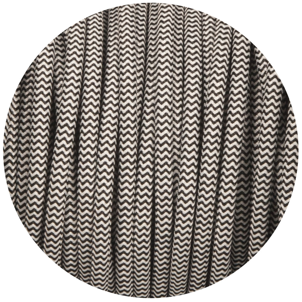 Black & White Round Fabric Braided Cable