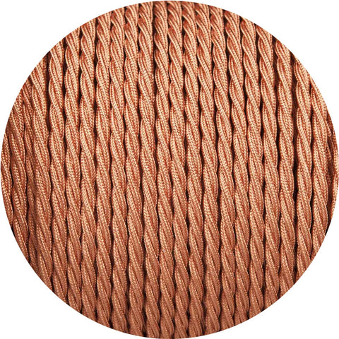 Copper Coloured Twisted Fabric Braided Cable