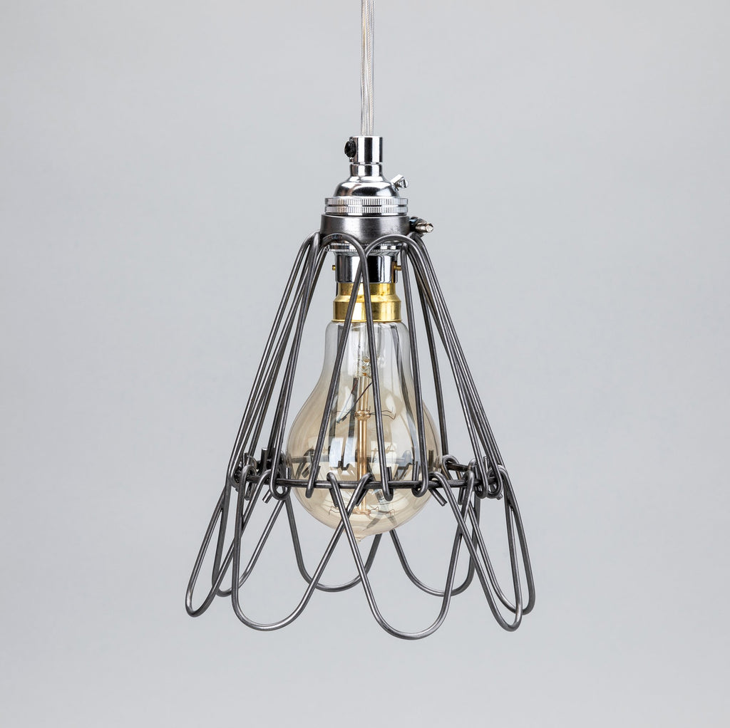 Small Deco Handmade Cage Shade in Raw Steel - SHADE ONLY