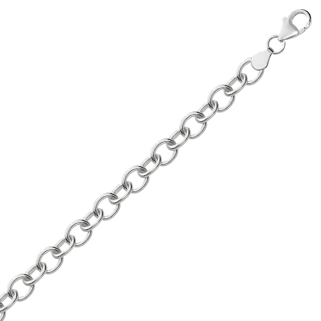 Sterling Silver Rhodium Plated Fancy Charm Bracelet
