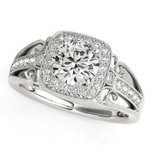 14k White Gold Baroque Shank Style Cut Diamond Engagement Ring (1 1/4 cttw)