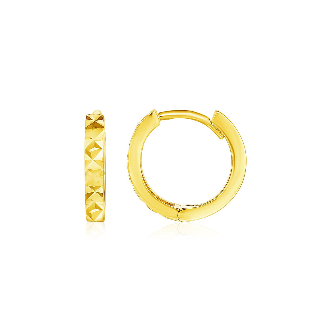 14k Yellow Gold Petite Round Hoop Earrings with Geometric Texture