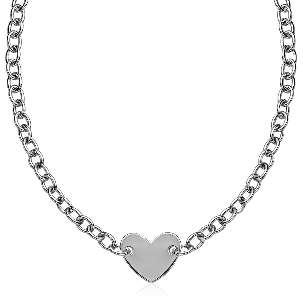 Sterling Silver Rhodium Plated Chain Bracelet with a Flat Heart Motif Station