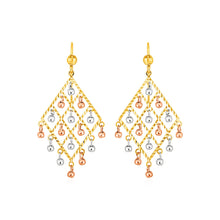 Load image into Gallery viewer, Textured Chandelier Earrings with Ball Drops in 14k Tri Color Gold
