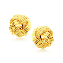 Load image into Gallery viewer, 14k Yellow Gold interweaved Love Knot Stud Earrings