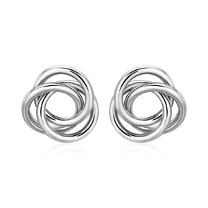 Polished Open Love Knot Earrings in Sterling Silver