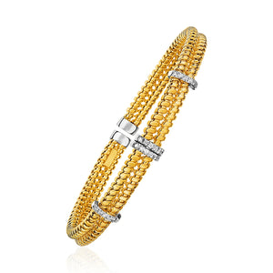 14k Yellow Gold and Diamond 8mm Flexible Bangle Bracelet