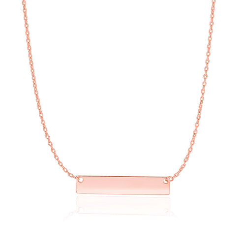 14k Rose Gold Smooth Flat Horizontal Bar Style Necklace